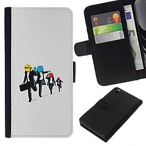 KLONGSHOP // Tirón de la caja Cartera de cuero con ranuras para tarjetas - Hombres funcionamiento divertido - HTC DESIRE 816 //