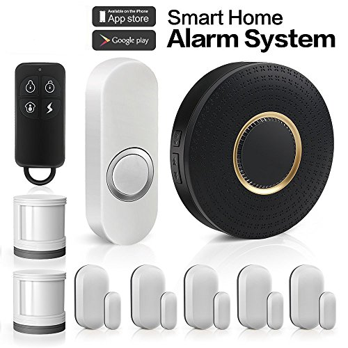 Wireless Home Security Alarm System Anti-theft Siren, App Controlled by Android IOS Smartphone,DIY Kit with 1 Smart WiFi Hub, 5 Contact Sensors, 2 Motion Sensors, 1 Doorbell Button, Works with Alexa Forrinx