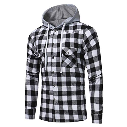 Orangeskycn Men Long Sleeve Plaid Hoodie Hooded Sweatshirt Tops Coat Autumn Winter By (Black, L)