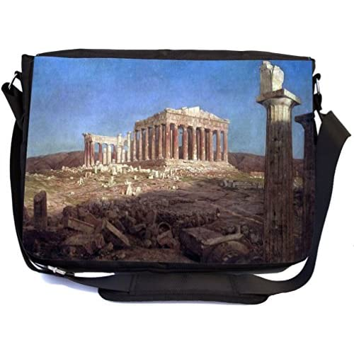 Rikki Knight Frederick Edwin Church Art The Parthenon Design Multifunctional Messenger Bag - School Bag - Laptop Bag - with padded insert for School or Work - Includes Matching Compact Mirror