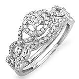 Anillo de compromiso nupcial para damas de diamantes de oro blanco de 0.50 quilates (ctw) de 14 quilates, 1/2 CT (tamaño 8)
