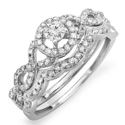 Dazzlingrock Collection 0.50 Carat (ctw) 14K Round Diamond Ladies Bridal Engagement Ring Set 1/2 CT, White Gold, Size 5