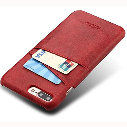 (iPhone 7 Plus Luxury Synthetic Leather Case,Aulzaju iPhone 8 Plus Super Slim Cow Leather Credit Card Case Fashion Comforatable Wallet Cover for iPhone 7 Plus/8 Plus-Red)