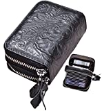 Easyoulife Womens Genuine Leather RFID Secure Zip Credit Card Wallet Small Purse (Black)