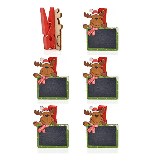 Ornerx Wooden Reindeer Clothespin Clips Christmas Craft Supplies Pack of (Clothespin Reindeer)