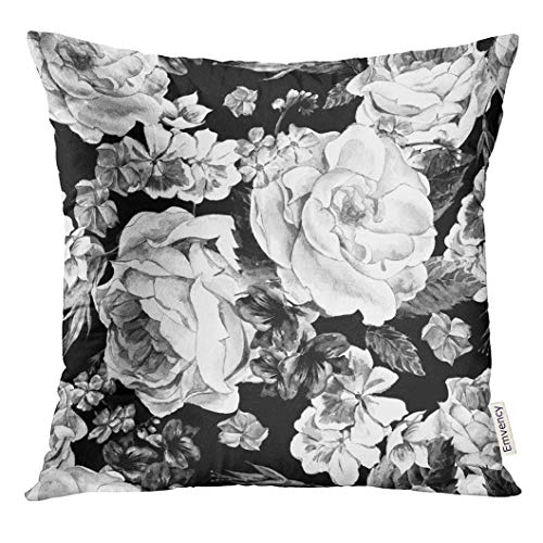 Emvency Throw Pillow Cover Black and White with Floral Bouquet of Roses Daisy Blue Wild Flowers in Vintage Style Watercolor Decorative Pillow Case Home Decor Square 18x18 Inches Pillowcase Black Floral Throw Pillow