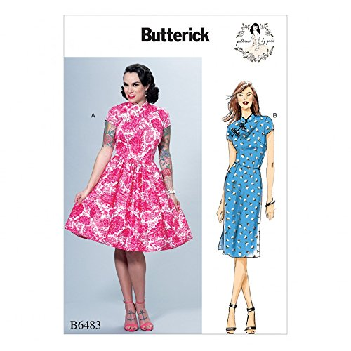 Butterick Ladies Sewing Pattern 6483 Dresses with Mandarin Collar and Skirt -
