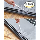 JJMG 2 Pcs Multi-functional Triangle Shaped Kitchen Bathroom Window Sliding Door Sturdy Track Cleaning Brush Cleaner Scrubber Tool