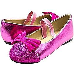 Simply Petals Girl's Glitter Toe Cap Big Bow Ballet Flats (Girls/Little Girls/ Toddler) (5 Toddler, Pink)