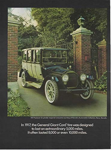 Magazine Print ad: 1917 Packard Imperial Limousine 12 cylinder, Harrah's Automobile Collection Reno NV, for General Giant Cord Tires -