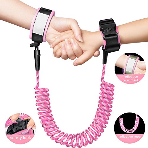 Anti Lost Wrist Link with Reflective Tape Sawed on - Safety Reflective Wrist Link for Toddlers, Babies & Kids (Pink) 1.5 Meter in Length by Starrey