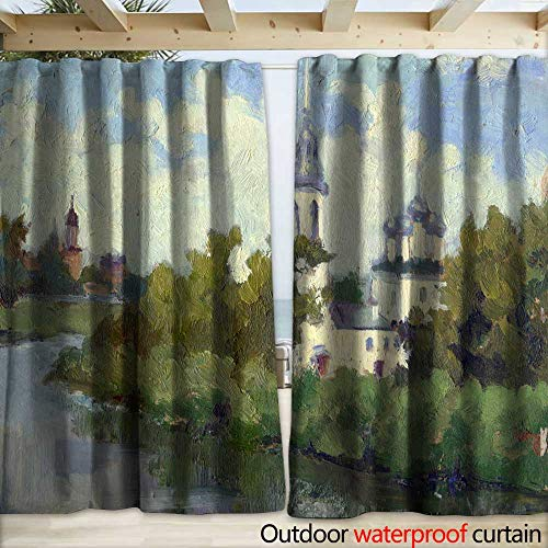 - warmfamily Outdoor Curtain Panel for Patio Landscape Russian North Vologda Early Morning Sky Clouds Orthodox cathedrals Drapery W120 x L96
