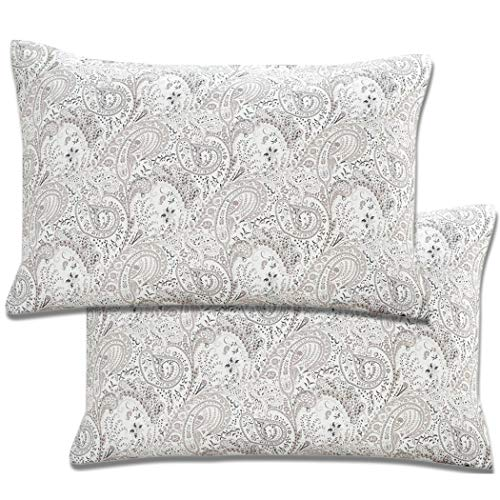 Mellanni Luxury Pillowcase Set Brushed Microfiber 1800 Bedding - Wrinkle, Fade, Stain Resistant - Hypoallergenic (Set of 2 Standard Size, Paisley Gray) (Grey Paisley Pillows)