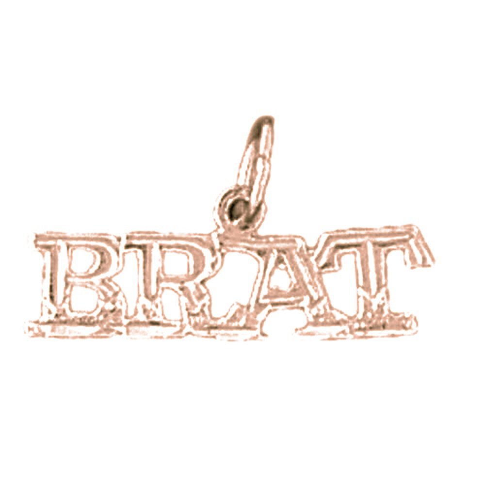 14K Rose Gold-plated 925 Silver Brat Saying Pendant with 18 Necklace Jewels Obsession Saying Necklace