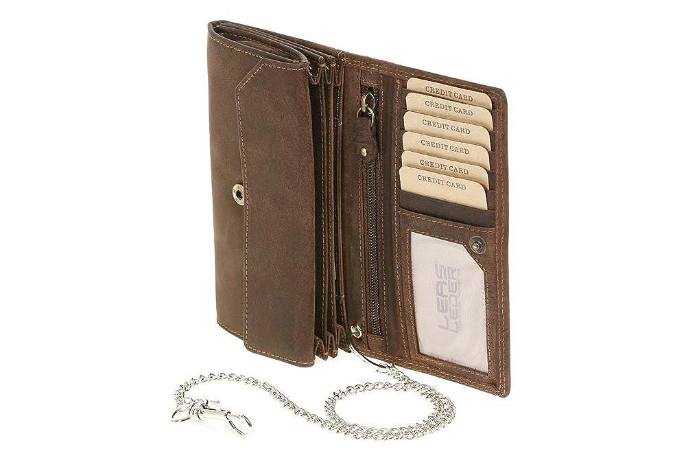 LEAS Chain-Series marron cuir v/éritable Leas Mcl Biker Portefeuille pour homme et femme avec la cha/îne chrome Vintage-Style format portrait