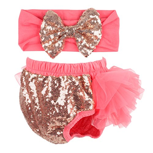 Tutu Bloomer - Slowera Baby Girls 2PCS Sets Cotton Tulle Sequins Diaper Cover Bloomers and Headband (Watermelon Red, L: 12-24 Months)