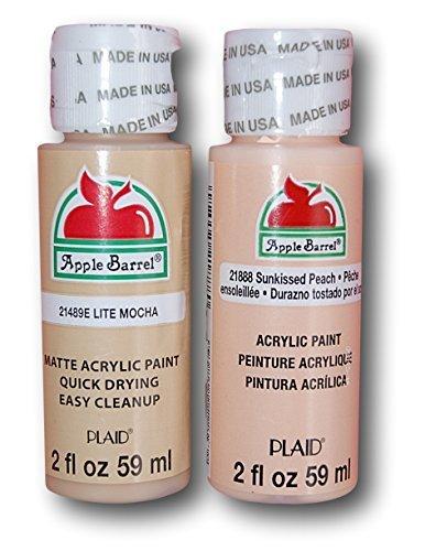 Apple Barrel Acrylic Paint Flesh Tones Set - Lite Mocha & Sunkissed Peach (2 Ounces Each)