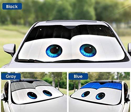 (OLSUS Car Windshield Sunshade with Cartoon Eyes Front Auto Car Windshield Sun Shade Foldable Sun Visor Vehicle Accessory Black)