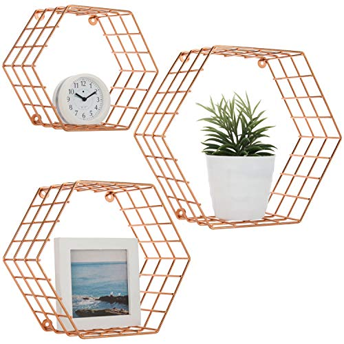 (MyGift Hexagonal Copper-Tone Wire Wall-Mounted Hanging Shelves, Set of 3)