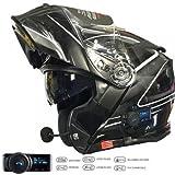VCAN V271 LIGHTNING MODULAR MOTORCYCLE MOTORBIKE BLUETOOTH FLIP UP HELMET (L)