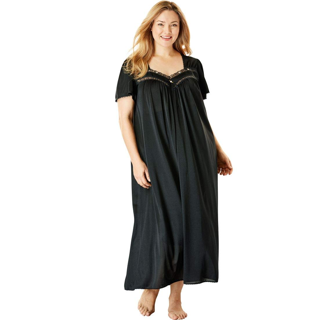 a0ba856c3e Only Necessities Women s Plus Size Long Silky Lace-Trim Gown at Amazon  Women s Clothing store  Miss Elaine Nightgowns
