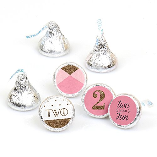 Two Much Fun - Girl - 2nd Birthday Party Round Candy Sticker Favors - Labels Fit Hershey's Kisses (1 sheet of 108)