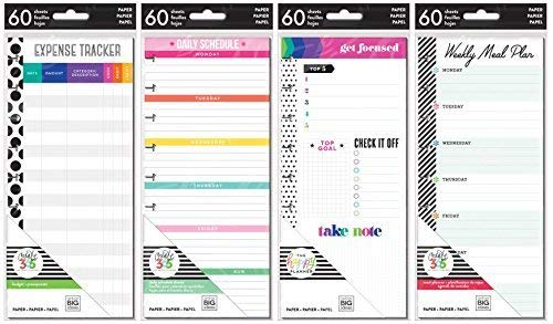 Happy Planner Classic Planner Half Sheets - Meal Planning, Budget, Focus and Daily Schedule - 4 Item MAMBI - Planning Sheet