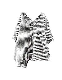 STORTO Womens Cotton Linen Striped Blouse Button Up Lapel Plus Size T-Shirt Casual Tunic Top