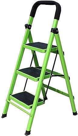 WYNZYTD Escalera De Tijera, Escalera Interior De Metal Plegable, Hogar Taburete Plegable, Pedal Ancho Escalera Interior, Verde, 2 Especificaciones (Size : 3 Steps): Amazon.es: Hogar