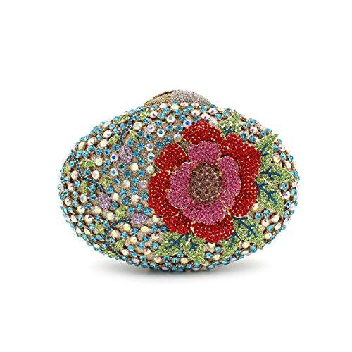 Haut Sacs Soirée Blue Fleur Main Cristal Diamants À Ovale Gamme Diamant Sac Luxe Creux Chaîne De 0qwpp8O