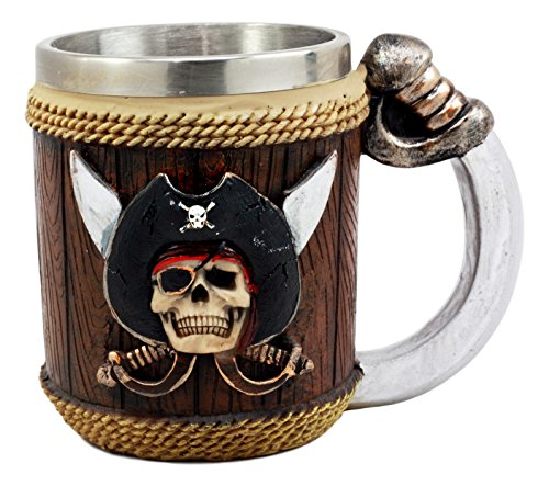 (Ebros Pirates of Caribbean Seas Captain Hook Skull With Cross Swords Coffee Mug 12oz Tankard Beer Cup )