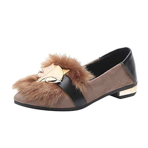 Amazon.com | GINELO Plush Fox Decorative Low-top Pointed Flat Sandals Casual Shoes with Shallow Mouth Slip On Single Shoes | Shoes