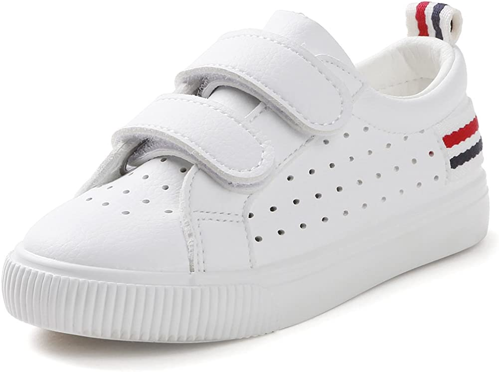 SFNLD InStar Kids Breathable Hollow Out Low Top Hook and Loop Strappy Round Toe School Skate Sneakers