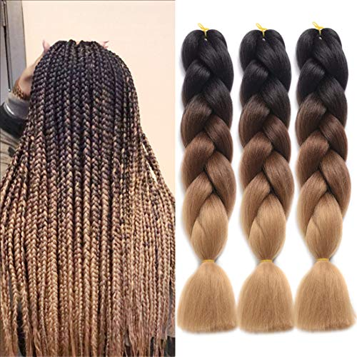 DingDian Braiding Hair Ombre Kanekalon Synthetic Braiding Hair 3Pcs/Lot Hair Extension for Twist Braiding Hair (24