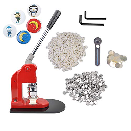 Eyerayo Button Maker Machine 37mm 1½ inch Badge Maker Pins Punch Press Machine Aluminum Frame W/ 1000 Pcs Button Parts and 1-1/2 inch 37mm Circle Cutter