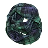 Bowbear Soft Touch Winter Warm Tartan Infinity Scarf, Blue and Green