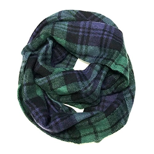 Allydrew Fashionable Plaid Winter Scarf Accessories, Infinity, Blue and Green