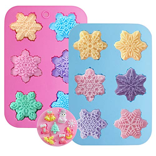 Silicone Snowflake Mold, DanziX 3 Pack Snowflakes Silicone Cake Soap Mould Handmade Christmas Molds-Rich Snowflakes Shapes