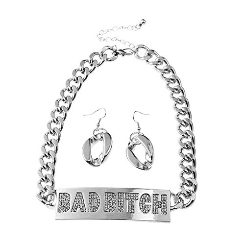 Qiji Crystal BAD BITCH Jewelry Set Punk Chunky Chain Choker Jewelry for Women (Silver Color)