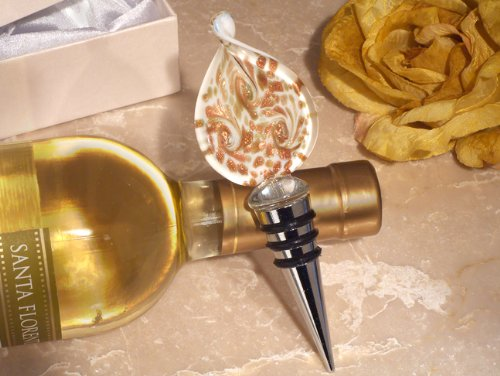 gn gold and white bottle stopper From FavorOnline (Murano Glass Wine Stoppers)