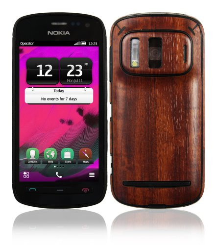 Nokia 808 Pureview Screen Protector + Dark Wood Full Body, Skinomi TechSkin Dark Wood Skin for Nokia 808 Pureview with Anti-Bubble Clear Film -