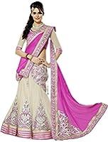 Market Magic World Woman's and Girl's Pink Georgette Semi stitched Free Size Lehengha Choli (Ghaghra Choli, Chaniya Choli)