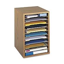 Safco Products Vertical Desk Top Sorter - 11 Compartment, Oak (9419MO)