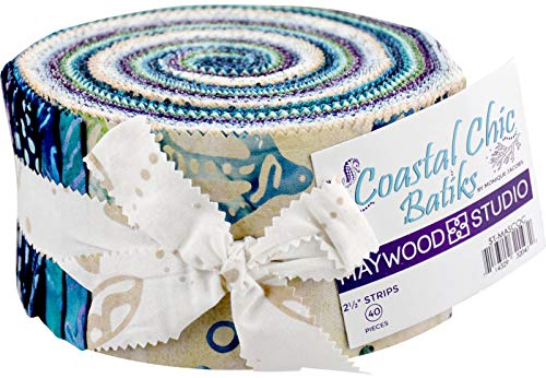 - Coastal Chic Batiks Strips 40 2.5-inch Strips Jelly Roll Maywood Studio, Assorted