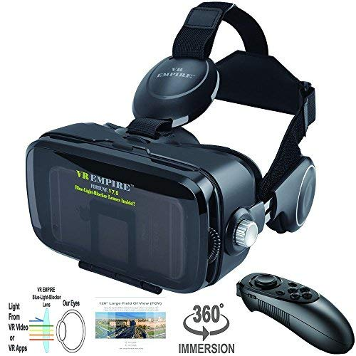 VR Headset Virtual Reality Headset 3D Glasses with 120°FOV, Anti-Blue-Light Lenses, Stereo Headset, for All Smartphones with Length Below 6.3 inch Such as iPhone & Samsung HTC HP LG etc. by VR EMPIRE