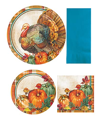 (Traditional Thanksgiving Autumn Harvest Holiday Tableware Set with Sturdy Style Paper Plates and Napkins for)