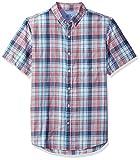 IZOD Men's Saltwater Dockside Chambray Plaid Short Sleeve Shirt, Rapture Rose, X-Large