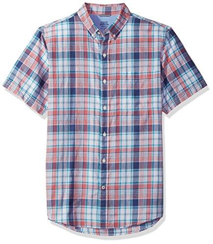 Izod Cotton Shirt - IZOD Men's Saltwater Dockside Chambray Plaid Short Sleeve Shirt, Rapture Rose, X-Large