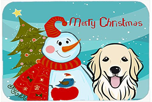 Snowman with Golden Retriever Kitchen or Bath Mat 20x30 BB1825CMT   B0189GOPPM