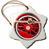 3dRose Alexis Photography - Transport Railroad - Driving wheel of a ancient steam locomotive. Stylized photo - 3 inch Snowflake Porcelain Ornament (orn_270629_1)
